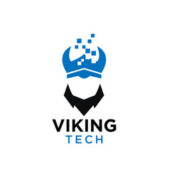 simple viking tech negative space logo design vector image