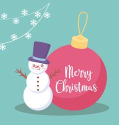 snowman with ball of christmas vector image