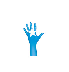 Somalia flag and hand on white background vector
