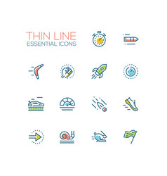 speed - modern single thin line icons set vector image