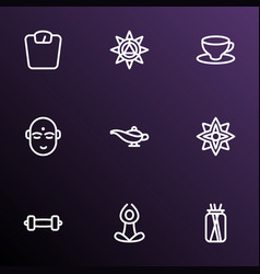spiritual icons line style set with dumbbell vector image