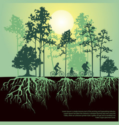 Split trees and roots family riding bicycles vector