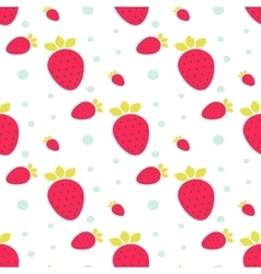 Strawberry seamless pattern with dots vector image