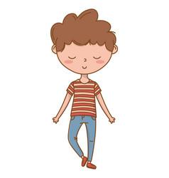 Stylish boy cartoon outfit isolated vector