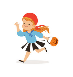 Sweet little girl in halloween costume running vector