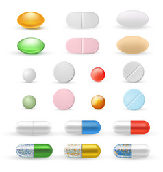 tablets and pills realistic set vector image