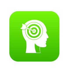 target in human head icon digital green vector image
