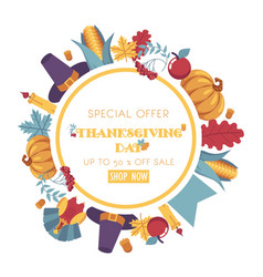 thanksgiving day promotional banner with vector image