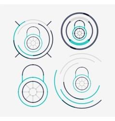 Thin line neat design logo set lock concepts vector