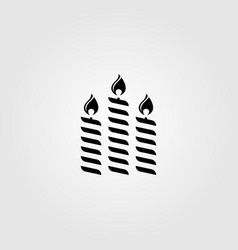 Three candle light flame in black color design vector