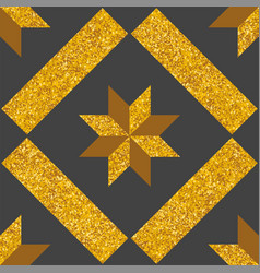 Tile decorative floor gold and dark grey tiles vector