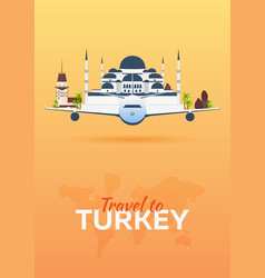 Travel to turkey airplane with attractions vector