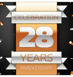Twenty eight years anniversary celebration golden vector