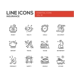 Types of Insurance - line design icons set vector