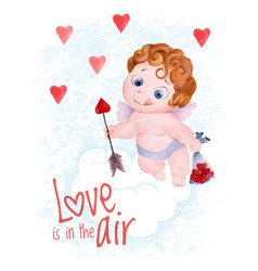 Valentines day cupid angel vector
