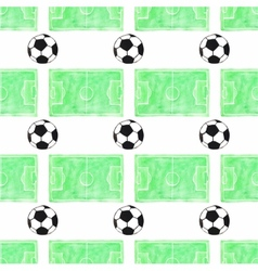 Watercolor seamless pattern with ball and football vector