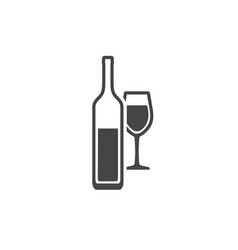 wine bottle and wineglass contour icon isolated vector image