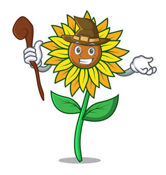 witch sunflower mascot cartoon style vector image