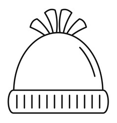 Woolen winter hat icon outline style vector