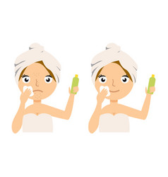 young woman applying moisturizer cream on her face vector image