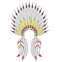 Zentangle War Bonnet with color feathers vector