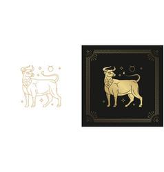 Zodiac taurus horoscope sign line art silhouette vector