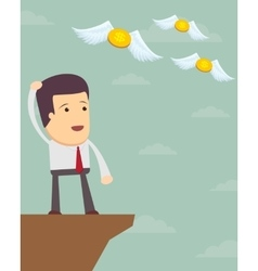 A sad man in a suit see off a flying away money vector