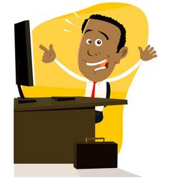 cartoon black businessman vector image vector image