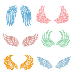 elegant angel wings with long feather angelic vector image vector image