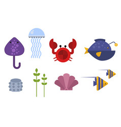 sea animals marine life character vector image vector image