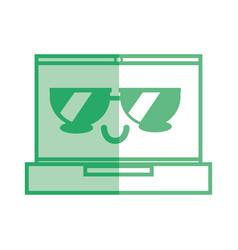 silhouette kawaii cute tender laptop technology vector image vector image