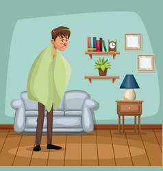 background living room home with fever sickness vector image