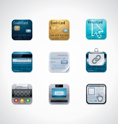 credit card square icon set vector image