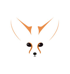 fennec muzzle eyes and ears contour vector image vector image