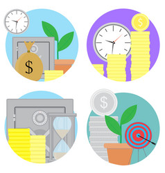 financial investments and savings icons set vector image vector image