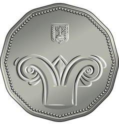 Obverse Israeli silver money five shekel coin vector image