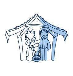 outlined manger mary joseph baby jesus nativity vector image