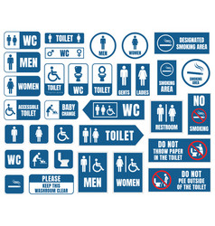 toilet signs toilet icons set wc signs vector image