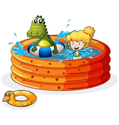 A girl and a crocodile swimming inside the vector image vector image