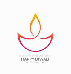 artistic diwali diya on white background vector image vector image