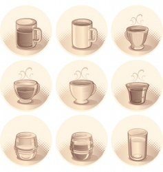 cups and glasses vector image