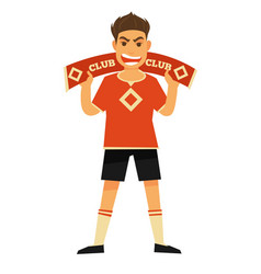 football fan with symbolic scarf and angry face vector image
