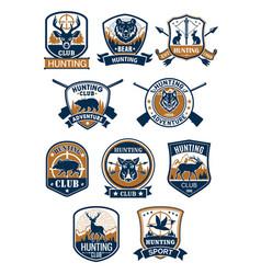 Hunting sport symbol and hunter club badge set vector