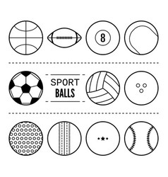 sports balls for football basketball tennis vector image