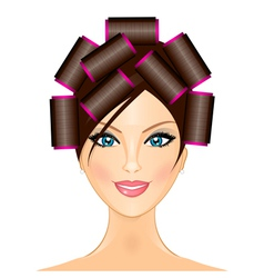 woman with curlers vector image vector image