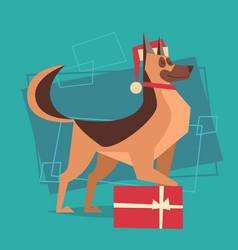 dog wear santa hat with gift box happy new year vector image