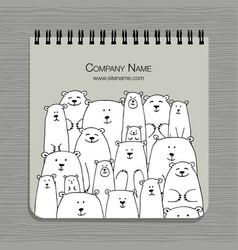 notebook design polar bears family vector image vector image