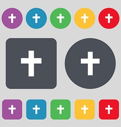 religious cross Christian icon sign A set of 12 vector image vector image