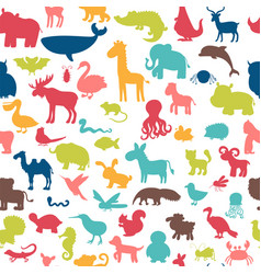 seamless pattern with colored animals silhouettes vector image