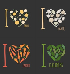 Set I love vegetables carrots and garlic Symbol of vector image